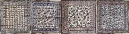 Quatre Kalamkar Coton peint et imprimé en polychromie selon la technique du kalamkar Iran, circ