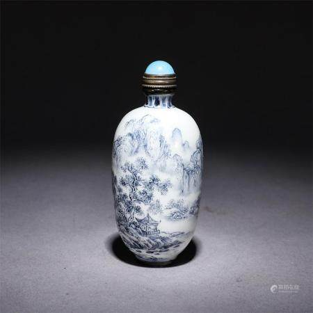 A RARE BLUE AND WHITE PORCELAIN SNUFF BOTTLE