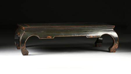A CHINESE CHARCOAL BLACK LACQUERED WOOD COFFEE TABLE, MODERN