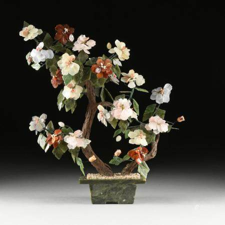 A CHINESE CARVED JADE AND HARDSTONES BLOSSOMING TREE, MODERN