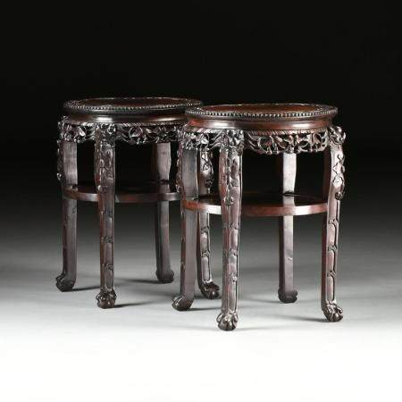 A PAIR OF CHINESE CARVED ROSEWOOD SIDE TABLES, LATE 20TH CEN