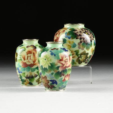 A GROUP OF THREE JAPANESE PLIQUE A JOUR BLUE AND GREEN GROUN