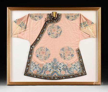 A CHINESE QING DYNASTY GILT APRICOT GROUND SILK WOMEN'S SEMI