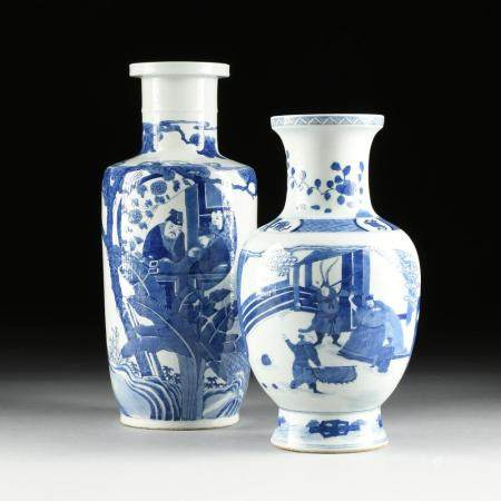 A GROUP OF TWO CHINESE BLUE AND WHITE FIGURAL BALUSTER AND R