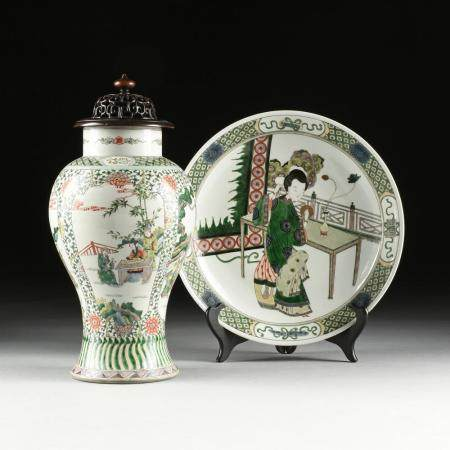 A GROUP OF TWO CHINESE EXPORT FAMILLE VERTE ENAMELED PORCELA