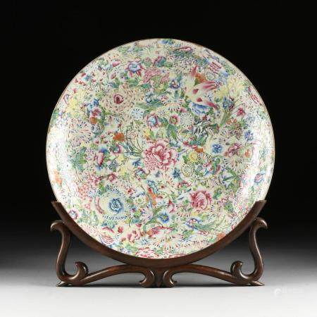 A CHINESE FAMILLE ROSE MILLEFLEUR CHARGER, MARKED, LAST HALF