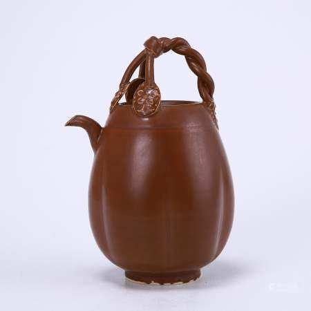 Ding kiln sauce-glazed melon rib three-leaf handle pot