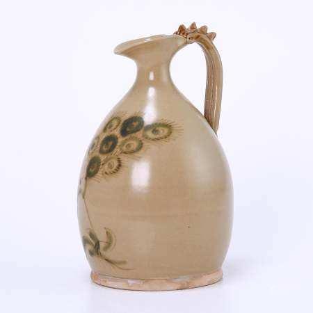Changsha kiln yellow glaze dragon handle painted
