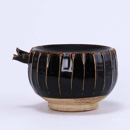 Cizhou kiln black glaze line inkstone