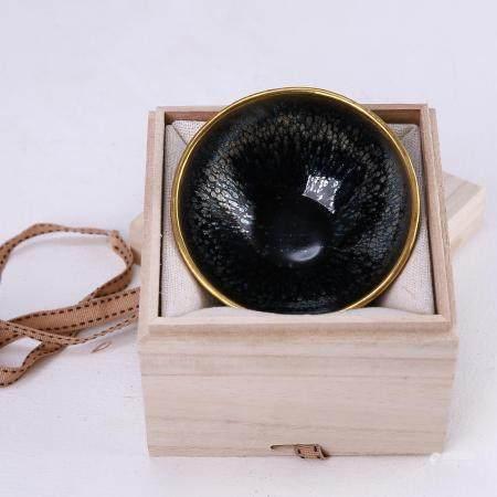 Jian kiln black glaze oil dripping copper gilt buckle