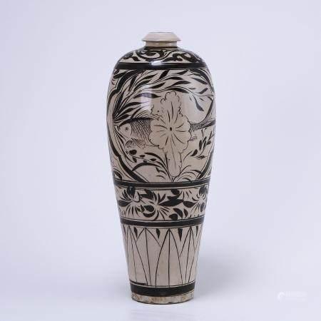 Cizhou Kiln White Ground Black Flower Poetry Vase