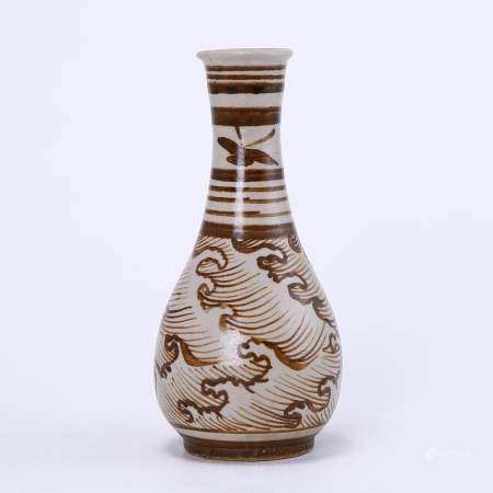 Jizhou kiln white ground brown sea water pattern bottle