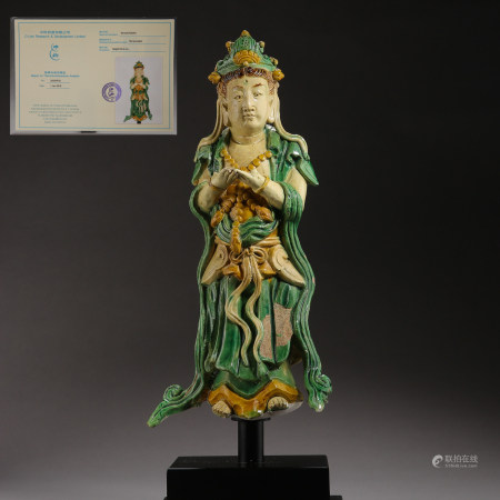 Ming Dynasty, China, Three-color Guanyin Statue