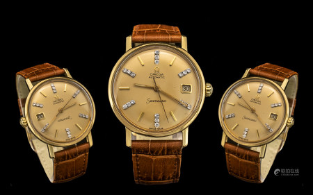 Omega Seamaster Rare All Original Automatic 18ct Gold Gentleman's Wrist Watchcirca 1970s. Features