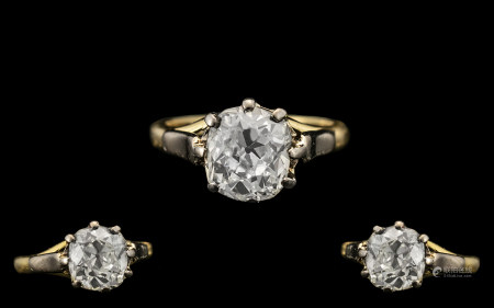 18ct Gold - Stunning Single Stone Diamond Ring with Full Hallmark for 750 - 18ct. The Cushion Cut