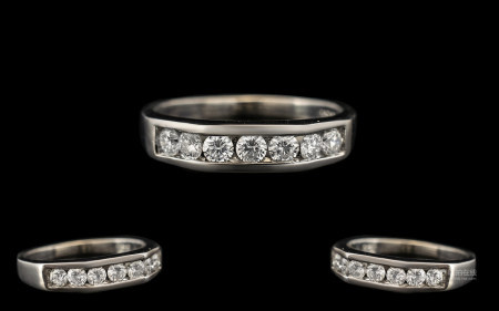 Ladies - Superb and Contemporary 18ct White Gold Diamond Set Dress Ring of Pleasing Form / Design.