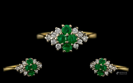18ct Gold - Attractive Ladies Emerald and Diamond Set Dress Ring - Pleasing Design. Full Hallmark