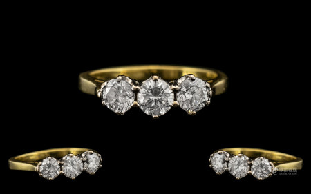 18ct Gold Attractive Three Stone Diamond Ring, the three modern, brilliant cut diamonds of excellent