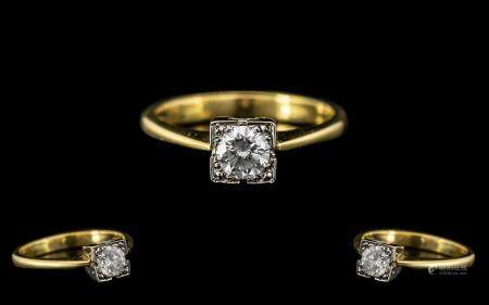 18ct Gold Attractive and Top Quality Single Stone Set Dress Ring. Full hallmark for 18ct. The