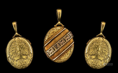 Victorian Period Fine Quality 15ct Gold ( Two Tone ) Oval Shaped Exqisite Oval Shaped Hinged