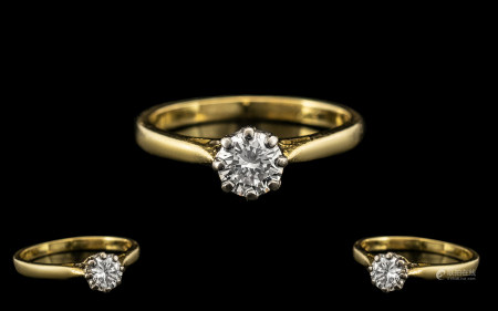 18ct Gold Attractive and Good Quality Single Stone Diamond Set Ring, the round brilliant cut diamond