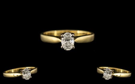 18ct Yellow Gold - Pleasing Quality Single Stone Diamond Set Ring of Contemporary Design. Full