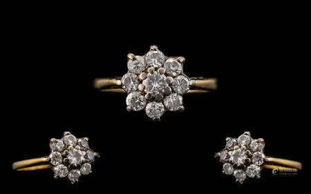 18ct Yellow Gold - Attractive Diamond Set Cluster Ring - Flowerhead Setting. Marked 18ct to Interior