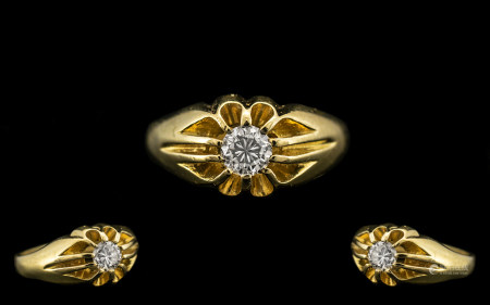 18ct Gold Gypsy Set Single Stone Diamond Dress Ring of Top Grade. The Round Modern Brilliant Cut
