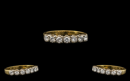 Ladies Attractive 18ct Gold Seven Stone Diamond Set Ring, the seven round brilliant cut diamonds, in