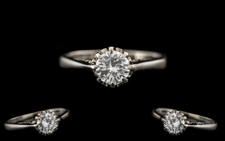 18ct White Gold - Attractive Single Stone Diamond Set Ring. Fully Hallmarked for 18ct. The Round