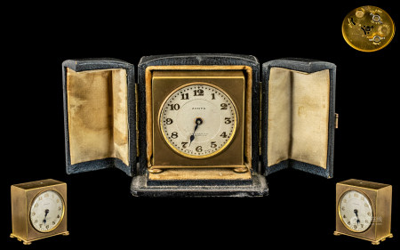 Zenith Watch Company Excellent Quality Gilt Metal Square Shaped Small Travel Clock in fitted leather