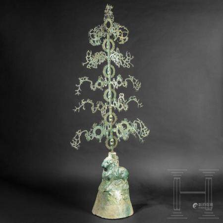 An extremely rare, early, Chinese money shaking tree, known as yao qian shu, Eastern Han Dynast