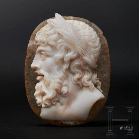 An antique cameo of the finest quality with idealizing image of Zeus Jupiter, Classicism, circa