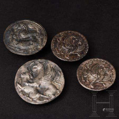 Four silver Avaric phalerae in excellent condition, middle Danube area, 8th century