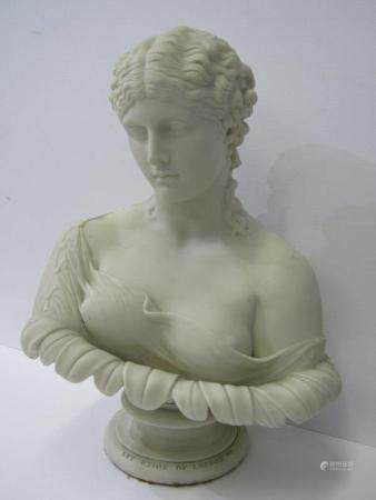 "COPELAND PARIAN, Art Union of London pedestal bust of Clytie after C.Delpech, 13.5"" height (small"