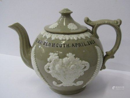 "ANTIQUE POTTERY WWI, presentware stoneware teapot dedicated to ""Mrs Wenmouth from Private H"