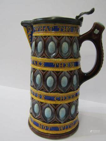 "WEDGWOOD MAJOLICA, pewter lidded tapering 9"" jug with applied rhyme ""What Tho My Cates Be Poor"""