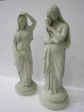 "VICTORIAN PARIAN, two figures ""Esther & Lady with Face Mask"", height 13.5"""