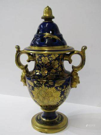 MASONS-STYLE, 19th Century gilded royal blue ground twin handled pedestal pot-pourri vase (some