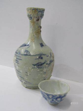 "ORIENTAL CERAMICS, Shipwreck Salvage porcellaneous under-glaze blue, 8.5"" flask decorated with"