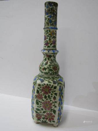 "PERSIAN LAMP BASE, square base 15.5"" height lamp base decorated with flowering shrubs"