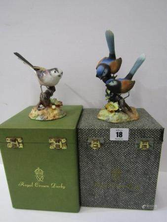 "ROYAL CROWN DERBY BIRDS, two boxed figures ""Fairy Wrens"" & ""Long-tailed Tit"""
