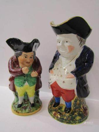 TOBY JUGS, Snuff taking Toby jug together with similar Toby jug in gilt embroidered waist coat,