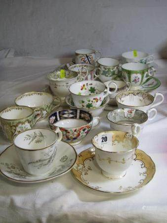 19TH CENTURY TEAWARE, a good collection of English porcelain teaware including, Copeland and