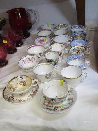 19TH CENTURY TEAWARE, collection of early 19th Century English porcelain teaware including Hilditch,