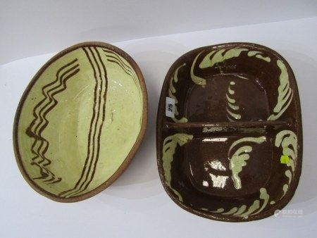 EARLY SLIPWARE, two 19th Century slip decorated baking dishes, one with twin section