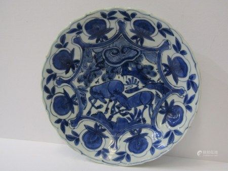 ORIENTAL CERAMICS, Chinese Transitional period, under-glaze blue lobed edge saucer dish, decorated