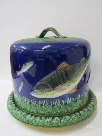 VICTORIAN MAJOLICA CHEESE DISH, fish decorated cheese dome & base (some damage to base)