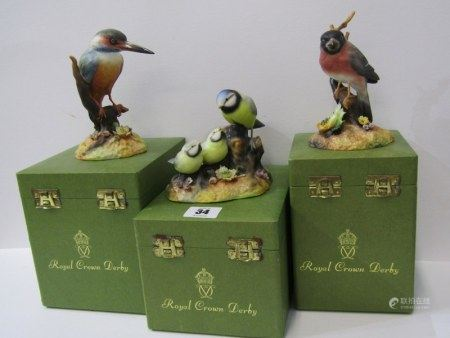 ROYAL CROWN DERBY BIRDS, three boxed figures of Blue Tit & Chicks, Bullfinch & Kingfisher