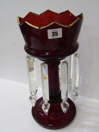 "VICTORIAN GLASSWARE, ruby glass drop lustre vase, 13"" height"